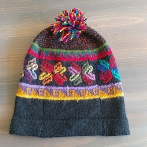 Vintage hand knit Multi Colored pom beanie 2205